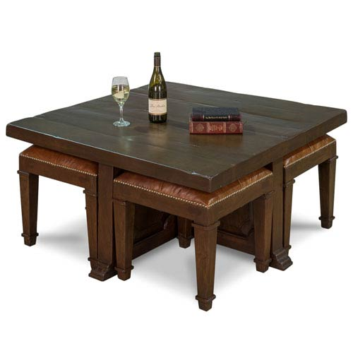 Sarreid Cocktail Coffee Table with Stools, Walnut