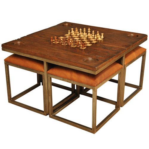Fruitwood and Pewter Low Game Table with Four Stools