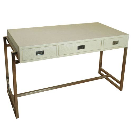 Crocodile Pearl Leather Desk