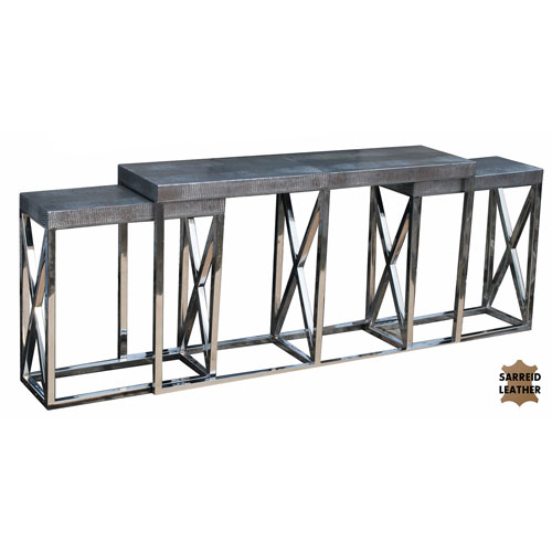 Grey Silver Metallic Nesting Console Table
