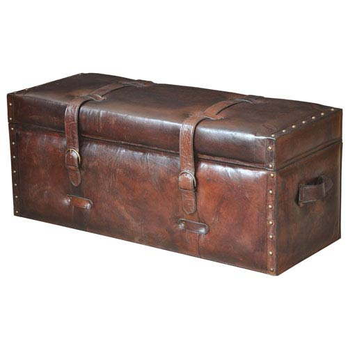 Brown Laramie Leather Trunk Bench