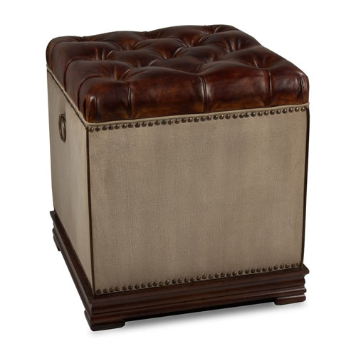 Natural Canvas and Leather Elegant Petite Stool