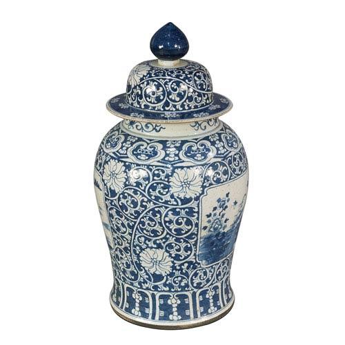 Sarreid Floral Ceramic Vase W/Lid