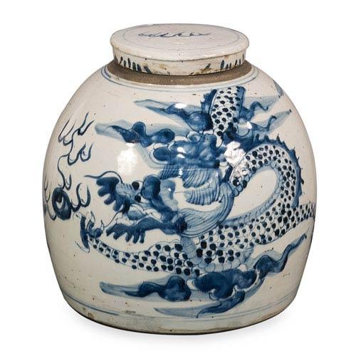 Sarreid Blue and White Round Vase
