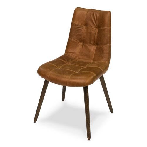 Harned Leather Side Chair Dark