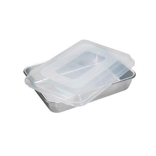 Silver Rectangular Cake Pan with Storage Lid