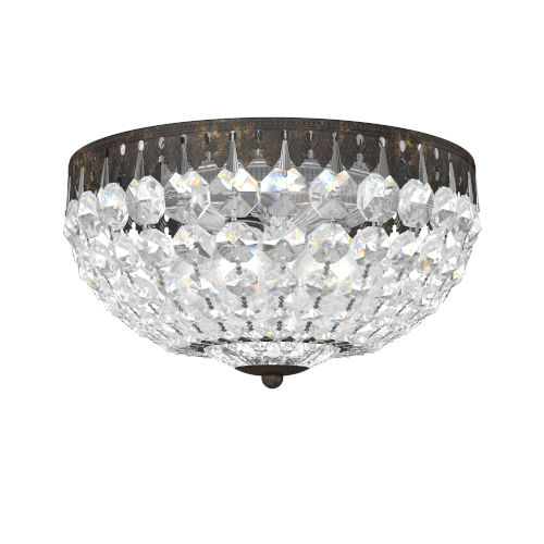 Petit Crystal Heirloom Bronze Four-Light Flush Mount