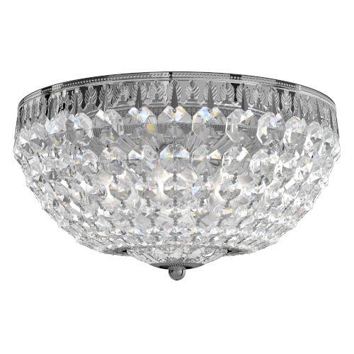 Petit Crystal Polished Silver Five-Light Flush Mount