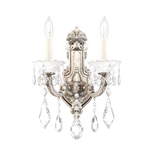 La Scala Antique Silver Two-Light Wall Sconce