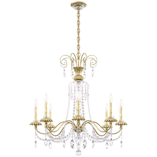Helenia Heirloom Silver Eight-Light Chandelier with Clear Heritage Crystal