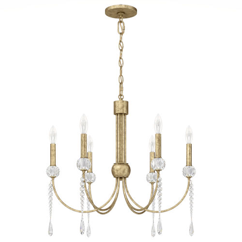 St. Simons Heirloom Silver Six-Light Chandelier with Clear Heritage Crystal