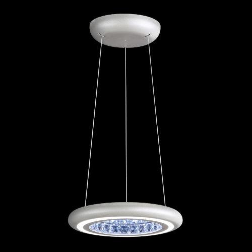 Infinite Aura Glimmer Silver 15-Inch LED Pendant with Swarovski Crystal