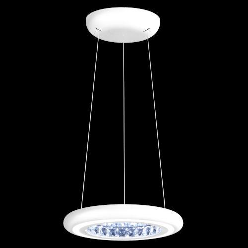 Infinite Aura White 15-Inch LED Pendant with Swarovski Crystal