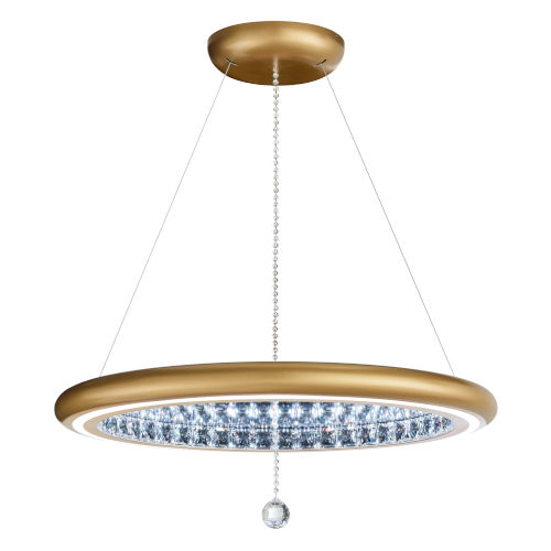 Infinite Aura Glimmer Gold 30-Inch LED Pendant with Swarovski Crystal Pendalogue