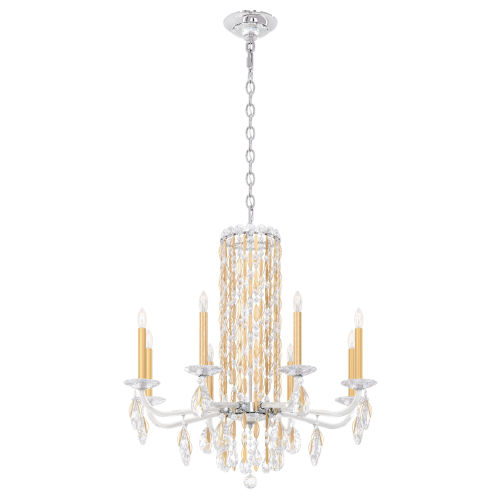 Sarella Heirloom Gold Eight-Light Chandelier with Clear Crystal from Swarovski