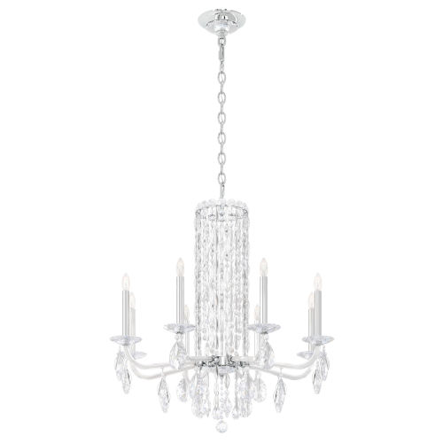 Sarella Stainless Steel Eight-Light Chandelier with Clear Heritage Crystal