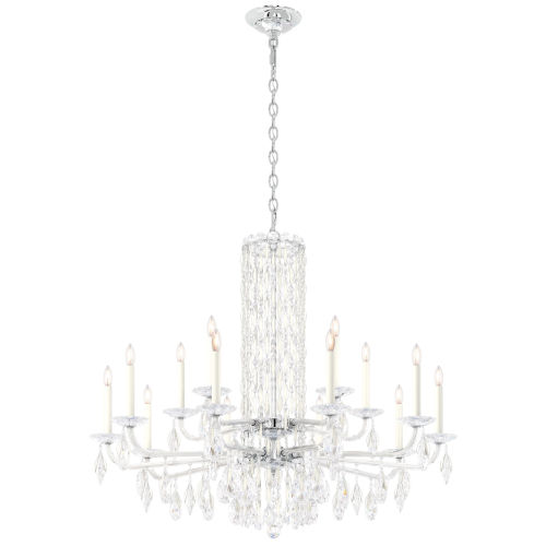 Sarella White 41-Inch 15-Light Chandelier with Clear Crystal from Swarovski