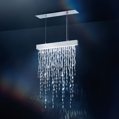 Crystalline Icicles Stainless Steel Five-Light Pendant with Clear Swarovski Crystals