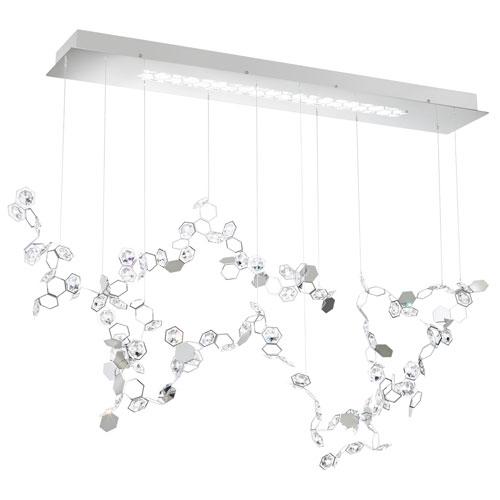 Swarovski Crystalon Stainless Steel Three-Light LED Pendant with Clear Swarovski Crystals