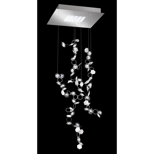 Crystalon Stainless Steel 42-Inch 4000K LED Pendant with Clear Swarovski Crystals