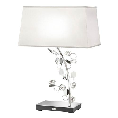 Crystalon Stainless Steel Two-Light Table Lamp with Clear Swarovski Crystals