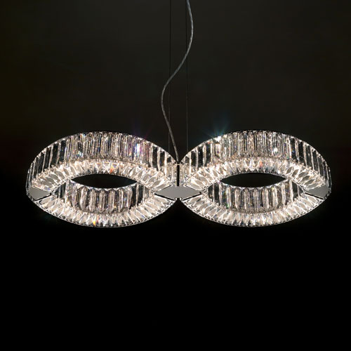 Eyris Stainless Steel Eight-Light Pendant with Clear Swarovski Crystals