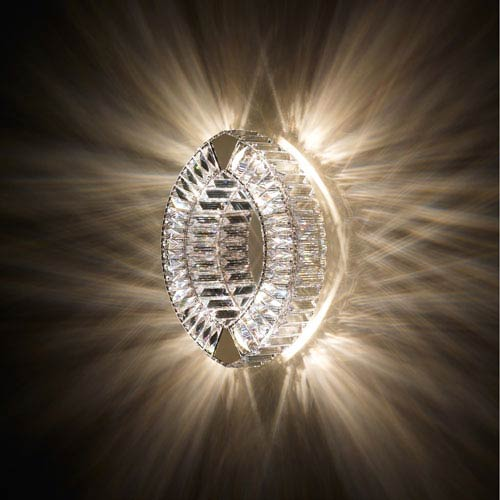 Eyris Stainless Steel Four-Light Wall Sconce with Clear Swarovski Crystals
