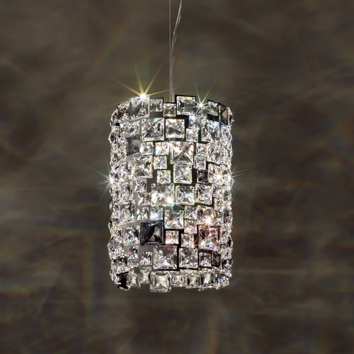 Mosaix Stainless Steel Four-Light Pendant with Clear Swarovski Crystals