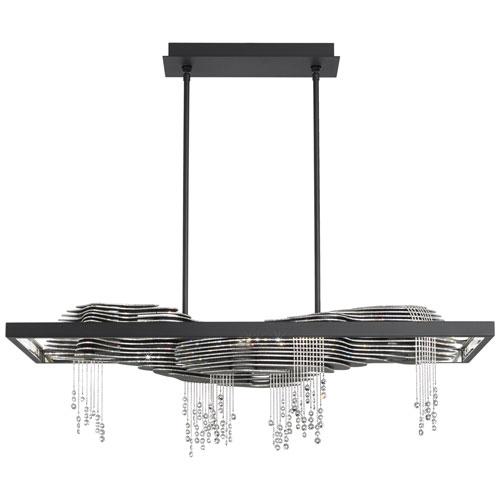 Sevetti Black 40-Inch 3000K LED Pendant with Clear Swarovski Crystals