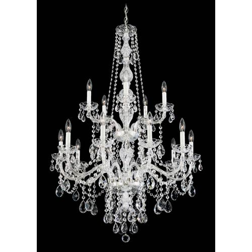 Arlington Silver 15-Light Clear Heritage Handcut Crystal Chandelier, 32W x 48H x 32D