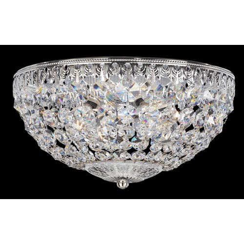 Petit Crystal Silver Four-Light Clear Spectra Crystal Flush Mount Light, 10W x 5.5H x 10D