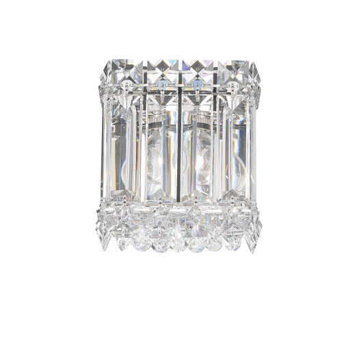 Schonbek  Quantum Stainless Steel One-Light Clear Spectra Crystal Wall Sconce, 4.5W x 5H x 4.5D