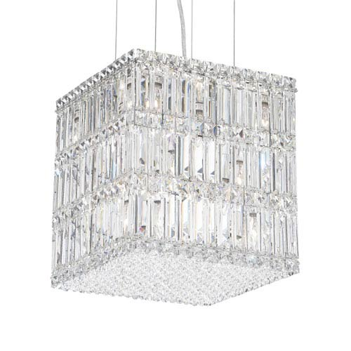 Schonbek  Quantum Stainless Steel 13-Light Clear Spectra Crystal Pendant Light, 12W x 13H x 12D