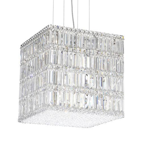 Quantum Stainless Steel 21-Light Clear Spectra Crystal Pendant Light, 17W x 17H x 17D