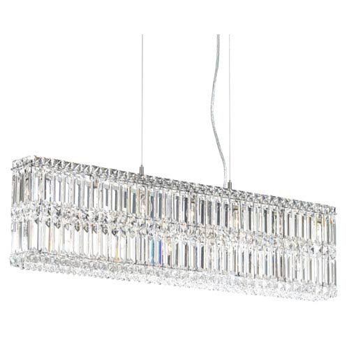 Schonbek  Quantum Stainless Steel 13-Light Clear Spectra Crystal Pendant Light, 35.5W x 9H x 35.5D