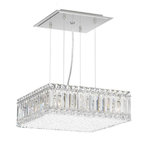 Schonbek  Quantum Stainless Steel Nine-Light Clear Spectra Crystal Pendant Light, 15W x 5H x 15D