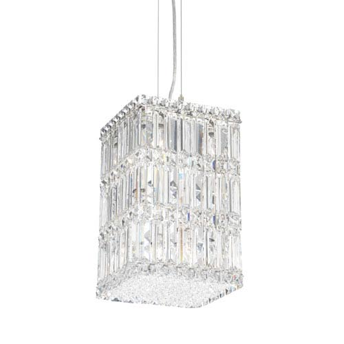 Quantum Stainless Steel Nine-Light Clear Spectra Crystal Pendant Light, 8.5W x 13H x 8.5D