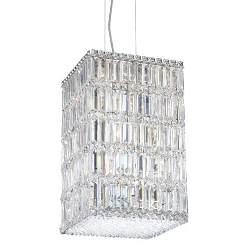 Quantum Stainless Steel 21-Light Clear Spectra Crystal Pendant Light, 13W x 21H x 13D