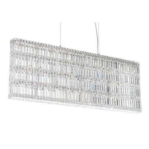 Schonbek  Quantum Stainless Steel 25-Light Clear Spectra Crystal Pendant Light, 48W x 17H x 48D