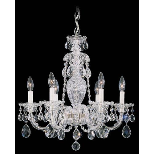 Schonbek  Sterling Silver Six-Light Clear Heritage Handcut Crystal  Chandelier, 21W x 22.5H x 21D