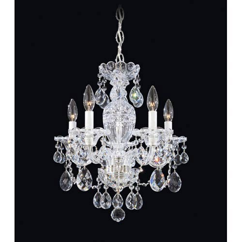 Sterling Silver Five-Light Clear Heritage Handcut Crystal  Chandelier, 16W x 18H x 16D