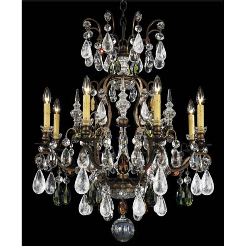 Schonbek  Renaissance Heirloom Bronze Nine-Light Olivine and Smoke Topaz Crystal Rock Crystal Chandelier, 26.5W x 32H x 26.5D