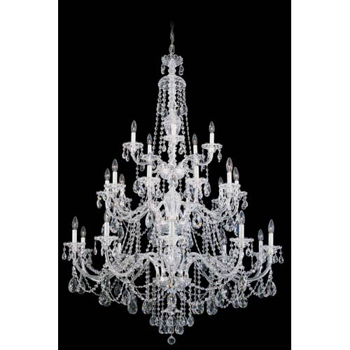 Schonbek  Sterling Silver 25-Light Clear Heritage Handcut Crystal  Chandelier, 45W x 61H x 45D