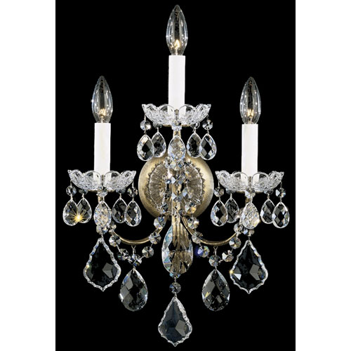 Schonbek  New Orleans Etruscan Gold Three-Light Clear Heritage Handcut Crystal Wall Sconce, 12W x 18.5H x 12D