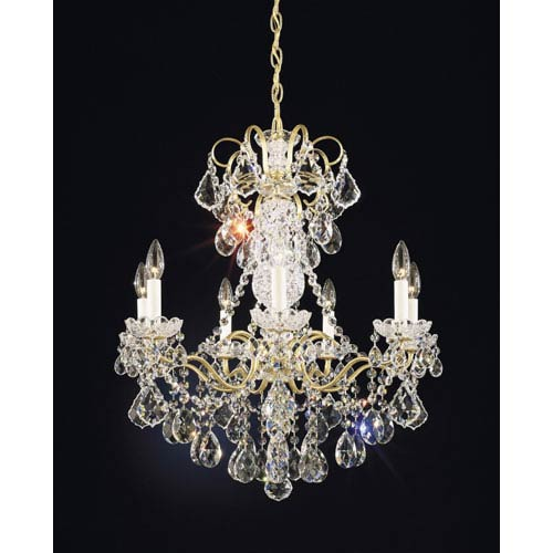 Schonbek  New Orleans French Gold Seven-Light Clear Heritage Handcut Crystal Chandelier, 24W x 27H x 24D