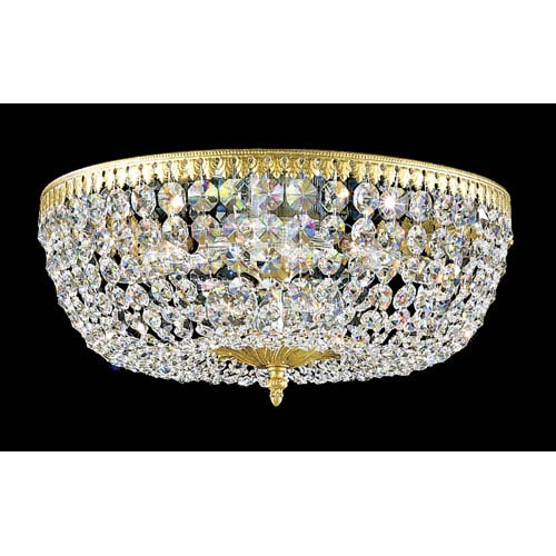 Schonbek  Rialto Heirloom Gold Eight-Light Clear Spectra Crystal Flush Mount Light, 18W x 7.5H x 18D