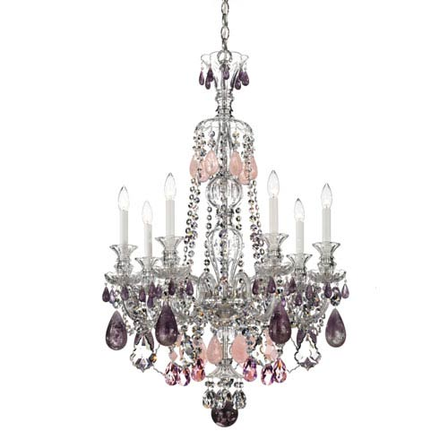 Schonbek  Hamilton Silver Seven-Light Amethyst and Rose Rock Crystal Chandelier, 26W x 37.5H x 26D