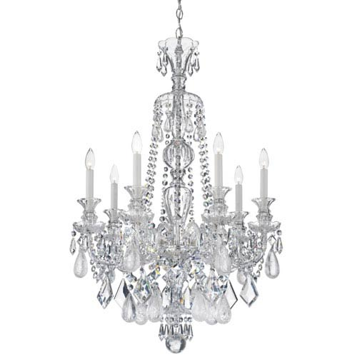 Schonbek  Hamilton Silver Seven-Light Clear Rock Crystal Chandelier, 26W x 37.5H x 26D