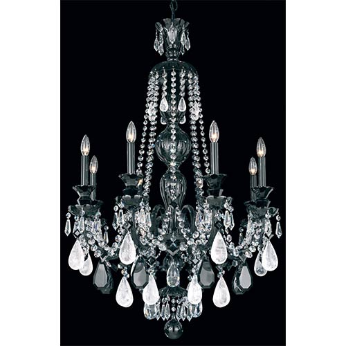 Hamilton Wet Black Eight-Light Chandelier with Rock Crystal