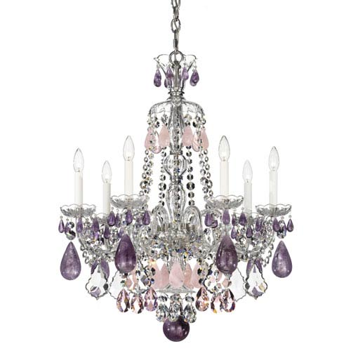 Schonbek  Hamilton Silver Seven-Light Amethyst and Rose Rock Crystal Chandelier, 24W x 31.5H x 24D